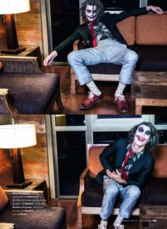 Clement Chabernaud for Esquire Spain in The Joker inspired editorial photographed by Alfonso Ohnur. Fashion editory Carolina Badia.