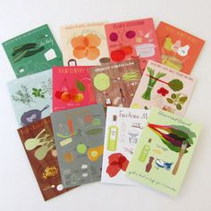 """Recipe Greeting Cards, Set of 12  Gorgeous greeting cards have an illustrated recipe on the front and full recipe instructions on the back, with a blank interior. Cards are 5""""x 7"""" and comes with matching envelopes. Great as a gift or to use yourself!"""