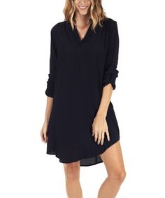 Another great find on #zulily! Navy Blue Tab-Sleeve V-Neck Dress #zulilyfinds