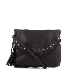 Black (Black) Black Leather-Look Stud Tassel Across Body Bag | 269496301 | New Look