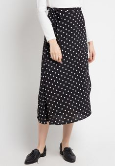 Mineola Wrap Polkadot Skirt Black