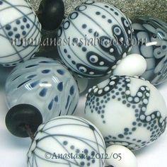 "ANASTASIA--lampwork beads--(7)--""BLACK AND WHITE""--SRA"