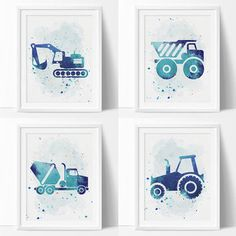Construction Wall Art, Boys Nursery Printable, Navy Blue Truck, Bulldozer, Cement Truck, Tractor, Watercolor Nursery, Construction Wall Art