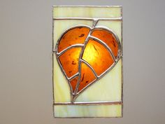 The seams are patinaed into bright copper color. The stained glass panel is 3.25 x 5.5 inches   Leaf+Stained+Glass+Night+Light+Amber+Brown+by+FleetingStillness,+$34.99