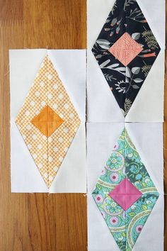 A Bonjour Quilts sewing tutorial for a diamond quilt block - make your own scrappy diamond quilt with this quilt block pattern tutorial. Modern Quilt Blocks, Quilt Block Patterns, Pattern Blocks, Patchwork Quilting, Scrappy Quilts, Easy Quilts, Quilting Tutorials, Quilting Projects, Quilting Designs