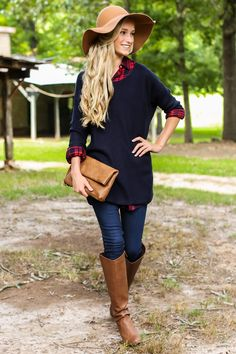 Some things may be Better As A Memory, but this Navy Sweater is a perfectly pleasant present! This sweater isn't going to the back of your mind any time soon! This sweater features a scoop neckline and long ribbed sleeves. Model is wearing a S/M.  • 55% Cotton, 35% Nylon, 10% Wool  • Hand Wash Cold • Unlined •Faintly Sheer • Made in the USA