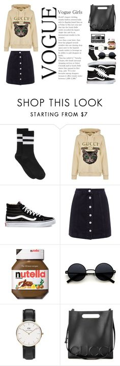 """""""gucci for today"""" by mahalaksmidhaneswara ❤ liked on Polyvore featuring HUE, Gucci, Vans, CASSETTE, Daniel Wellington, StreetStyle and gucci"""