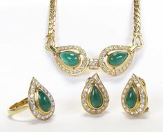 "An 18K yellow gold emerald and diamond jewelry suite, each featuring fine quality, tear drop emeralds including a ring, size 6.25, with eighteen round white brilliant diamonds, 4dwt; a pair of matching Omega post back earrings, 5.5dwt and 16"" necklace, 20.8dwt; a very nice looking suite with heavy gold and quality gemstones #emerald #wickliffauction"
