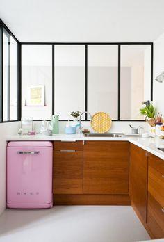 Home Challenge:  Dissonance.  Comment la Vintage Touch vient sublimer votre intérieur.  Réfrigérateur, vintage, cuisine.