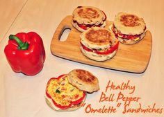Healthy Bell-Pepper Omelette Sandwiches.  Make ahead and freeze - great for on-the-go mornings
