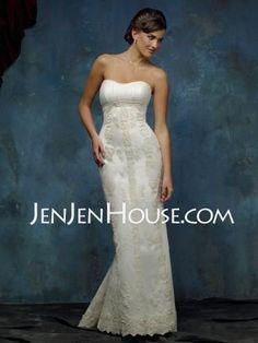 Wedding Dresses - $224.99 - Sheath/Column Sweetheart Chapel Train Satin  Tulle Wedding Dresses With Ruffle  Lace  Beadwork (002000329) http://jenjenhouse.com/Sheath-Column-Sweetheart-Chapel-Train-Satin--Tulle-Wedding-Dresses-With-Ruffle--Lace--Beadwork-002000329-g329