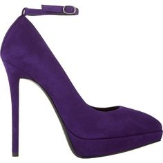 Giuseppe Zanotti Suede Ankle-Strap Platform Pumps (£195) ❤ liked on Polyvore featuring shoes, pumps, heels, purple, purple platform pumps, high heels stilettos, suede shoes, platform shoes et platform pumps
