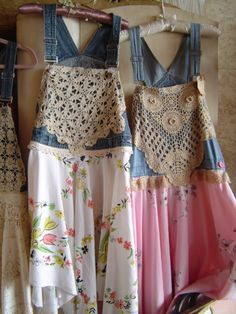 "Our ""Girls Gone Junkin Dresses""! These are made from overalls, vintage table cloths and lace! These are so fun and very comfortable!!!"