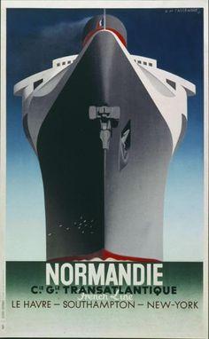 Normandie - Cie. Gle. Transatlantique - French Line - Le Havre - Southampton - New York-Plakat