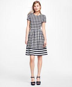 Silk Houndstooth and Stripe Dress Navy-White