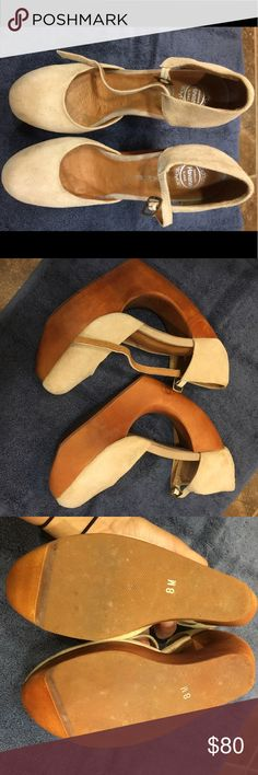 """Jeffrey Campbell tan/beige cutout wedge Worn once. Size 8. No box. No trades. Hard to find. Soft suede platform by Jeffrey Campbell. Adjustable ankle strap. Carved, sculptural wooden heel. 6"""" heel. Jeffrey Campbell Shoes Wedges"""