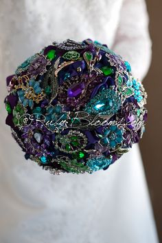 "Deposit- ""Purple Peacock Feather"" Wedding brooch bouquet. Jewelry Purple Gold Black bouquet. Royal Blue Teal Sapphire Wedding broach bouquet on Etsy, $55.00"