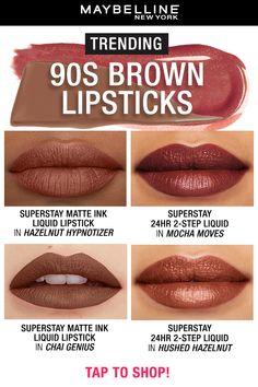 90s Makeup Look, Fall Makeup, Pretty Makeup, Makeup Looks, Matte Lipstick Shades, Brown Lipstick, Liquid Lipstick, Lipstick Colors, Makeup Dupes