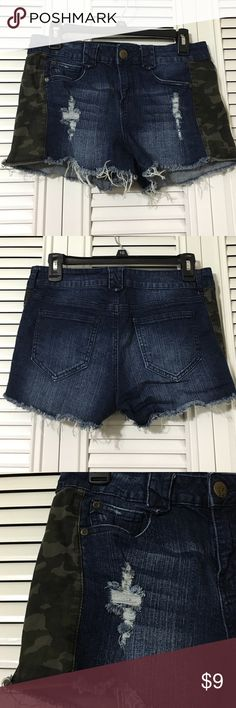 """Boom Boom Jeans Shorts Frayed hem and thigh denim with cotton camo print sides, 5 pocket shorts waist is 15"""" flat, length is ~10"""", rise is 9"""" Boom Boom Jeans Shorts"""