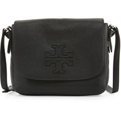 Tory Burch Harper Leather Messenger Bag ($480) ❤ liked on Polyvore featuring bags, messenger bags, black, zipper messenger bag, genuine leather bags, tory burch, zip bag and tory burch bags
