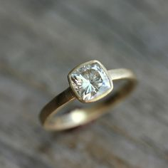 Cushion Cut Moissanite Engagement Ring in 14k Yellow Gold, Solitaire Cushion Cut Gemstone Ring