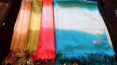 "Pashmina NWT Lot of 4 Ombre Blue Green Sand Coral Stole Wrap Shawl 26"" x68""  #Pashmina #Any"