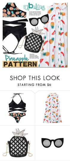 """Pineapple style"" by mada-malureanu ❤ liked on Polyvore featuring swimsuit, pineapple and zaful"