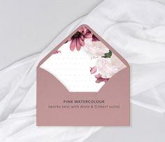 Envelope Liner Upgrade | Etsy Lavender Wedding Invitations, Unique Wedding Invitations, Wedding Invitation Suite, Custom Invitations, Invitation Design, Wedding Stationery, Pocket Invitation, Pink Watercolor, Woodland Wedding