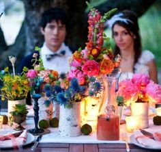 colorful table. idea: watermelon juice prior to ceremony? just a little refreshment?