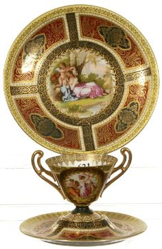 SIGNED BEEHIVE 3 PIECE SET - WOMAN AND CHERUB SCENIC DECOR - GREEN, YELLOW AND RED COLORING WITH HEAVY GOLD HIGHLIGHTS