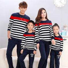 Find More Family Matching Outfits Information about 2016 Fall family matching outfits  striped red long sleeve sweatshirts spring father son matching clothes t shirts family pack ,High Quality family matching,China t-shirts family Suppliers, Cheap family packs from juxuan on Aliexpress.com