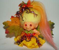"1960's Vintage Troll Doll 2 3/4"" Dam Scandia OOAK Autumn New Mohair"