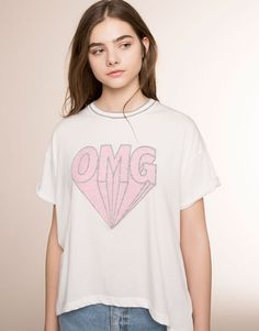 Pull&Bear - mulher - t-shirts e tops - t-shirt estampada manga curta - branco - 05239307-V2016