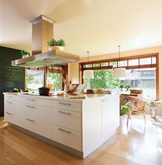 modern kitchen with honey-stained trim (add transoms to accordion doors) Open Kitchen And Living Room, New Kitchen, Kitchen Dining, Dream Furniture, Cool Furniture, Sweet Home, Home Hardware, Home Decor Inspiration, Kitchen Interior