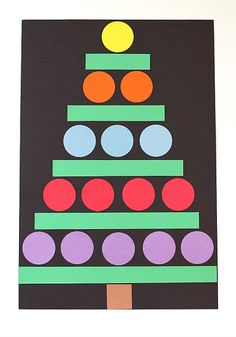 "Christmas crafts for kids: LOVE this Christmas tree craft.  Pre-cut circles with a 2"" paper punch.  Great fine motor skill."