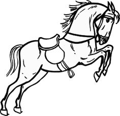 Lovely Horse Jumping Coloring Pages 55 Jumping Horse Outline clip
