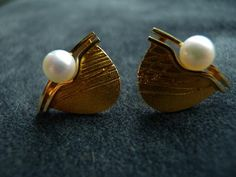 "Christophe Burger for Lapponia Jewelry, ""Moonlettes"" earrings in 18k gold with cultured saltwater pearls. #Finland"