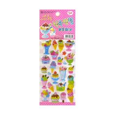 Perfect for summer!   Cute stickers featuring kawaii ice cream and popsicles with cute little faces on them.