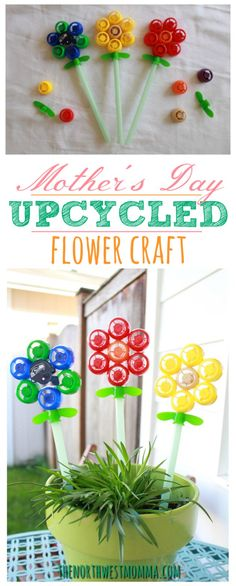 Mother's Day upcycled flower craft made from squeeze pouch lids and jumbo straws!