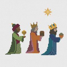 christmas cross stitch pattern 3 wise men nativity scene Christmas Perler Beads, Cross Stitch Christmas Ornaments, Xmas Cross Stitch, Cross Stitch Letters, Christmas Tree Pattern, Cross Stitch Baby, Cross Stitch Samplers, Christmas Cross, Cross Stitching