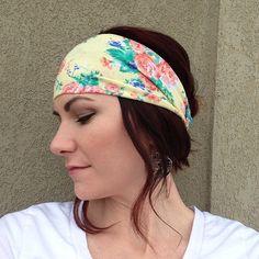 Yellow Floral Fabric Wrap Head Wrap Headband OR Turban on Etsy, $10.99