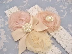 Bridal Garter Heirloom Rose Wedding Garter Set with Toss Garter Heirloom Rose and Tea Stained Ivory with Rhinestones and Pearls