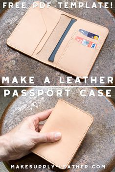 Make a leather Passport case with our FREE PDF Template Set accessories handmade Make A Leather Passport Case - Free PDF Template - Build Along Video Tutorial Leather Passport Wallet, Leather Wallet Pattern, Diy Leather Passport Holder, Leather Bag Tutorial, Diy Passport Holder, Leather Gifts, Leather Bags Handmade, Leather Working Patterns, Leather Purses