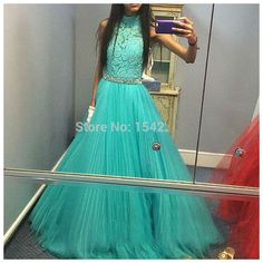 Mint Green Lace Dress High Neckline Stylish Beaded Tulle Prom Dresses Evening Gowns