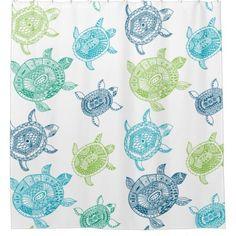 Nautical Blue Green Sea Turtles Shower Curtain Zazzle Com