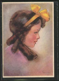 Künstler-AK Swildens: Kleines Mädchen mit gelber Schleife im Haar 0