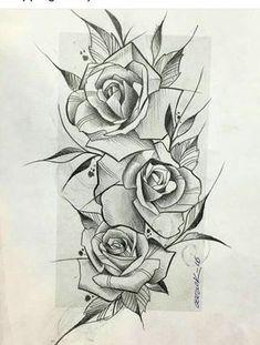 96 best rose drawing tattoo images in 2018 Rose Drawing Tattoo, Tatoo Art, Tattoo Sketches, Tattoo Drawings, Engel Tattoos, Arm Tattoos, Body Art Tattoos, Sleeve Tattoos, Stencils Tatuagem