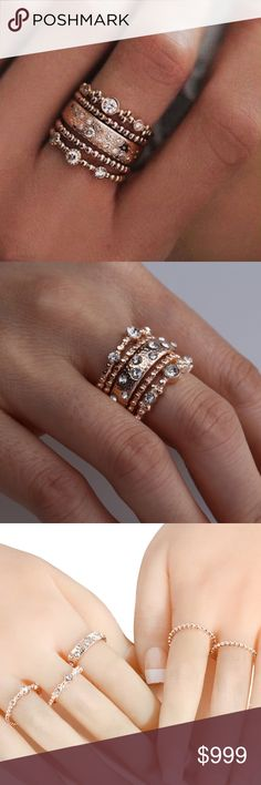"""COMING SOON!! """"Like"""" To Be Notified!! COMING SOON!! Rose Gold Austrian Crystal Stacked Ring Set Brand new in original packaging. Rose Gold Stackable 5 piece sparkly ring set. Beautiful stacked diamond rings on rose gold color textured bands varying from thick to thin bands embellished with gray hue Austrian crystal cubic zircon diamond-like brilliant stones. Set in rose gold electroplated metal, nickel & lead free. Sizes 7, 8 & 10. All sales are final; please ask all questions prior to…"""