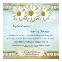 Post or after wedding or reception only invitation featuring a rustic vintage design with elegant daisy flowers on a painted background with wood