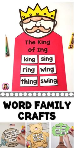 Word Family and Vowel Team Craffts These are great small group activities to allow students to explore rhyming words. Small Group Activities, Montessori Activities, Reading Activities, Reading Skills, Teaching Reading, Fun Phonics Activities, Word Family Activities, 1st Grade Activities, Phonics Reading